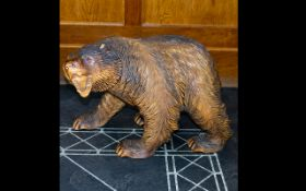 Large Black Forest Style Carved Wooden Bear,