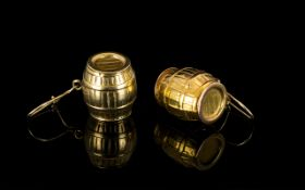 Pair Of George Jensen 9ct Gold Drop Earrings In The Form Of Barrels Realistically modelled barrels