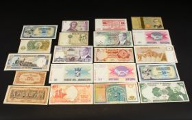 A large collection of mixed banknotes from around the world.