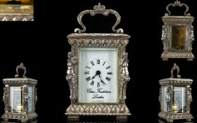 Charles Frodsham Fine Quality Hand Crafted Sterling Silver - 8 Day Miniature Carriage Clock,