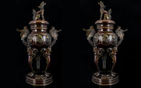 A Pair Of Late 19th/ Early 20th Century Japanese Bronze Incense Burners Each with Covers and