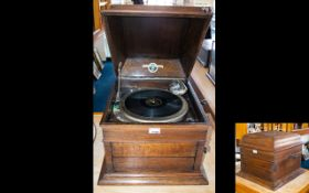 A Columbia Table Top Gramophone. Cased, Chrome Mounts. In Working Order.