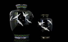 Fine Quality Japanese Cloisonne Vases, oviform shape with silver wire decoration.