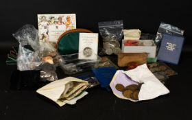 Very Interesting Box Of Coins to include several earlier tokens, a large bag of modern GB silver,