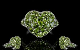 Peridot Heart Shape Cluster Ring, a pear