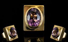 1970'S - 9ct Gold Single Stone Amethyst