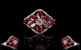 Ruby Flower Lozenge Shape Ring, eight ov