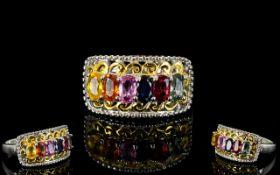 Multi Colour Sapphire Ring, a row of ova