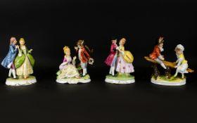 Sitzendorf Style Figures, each raised on