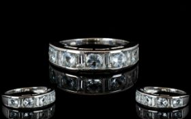 Aquamarine Half Eternity Band Ring, a ro