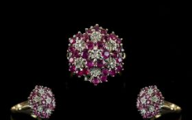 Ladies 9ct Yellow Gold Ruby and Diamond Cluster Ring, Flower head Setting. Fully Hallmarked for 9.