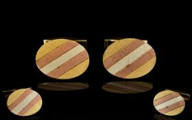 Gentleman's Nice Quality 3 Tone 9ct Gold Pair of Cufflinks from the 1970s.