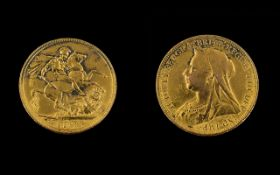 Queen Victoria Old Head 22ct Gold Full Sovereign - Date 1893, London Mint.