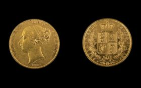 Queen Victoria Young Head / Shield Back 22ct Gold Full Sovereign - Date 1845,