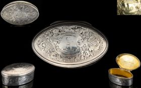George III Very Nice Quality Solid Silver Hinged Lidded Snuff / Pill Box of Oval Shape / Form.