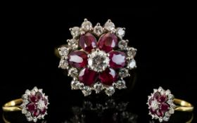 18ct Gold Diamond and Ruby Set Cluster Ring, Flower head Design of Superb Quality,