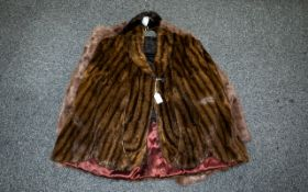 Vintage American Striped Mink Cape Comprising revere collar, square shoulders,