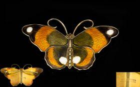 David Andersen Norwegian Silver And Guilloché Enamel Butterfly Brooch Large butterfly brooch by the