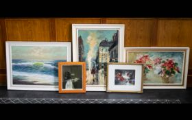 A Collection Of Mid 20th Century Paintings And Prints Five items in total to include three mid -