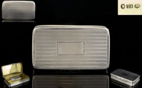 William IV Solid SIlver Rectangular Shaped Snuff Box of Pleasing Proportions with Gilt Interior,
