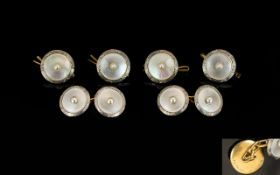 Tiffany & Co Set Of Gents High Carat Gold Cufflinks And Four Matching Buttons/Studs, White Gold,