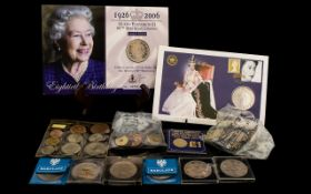 A Mixed Lot Of Mostly GB Coins To include 1953 9 piece coin set, £1 first day issue coin 1983,