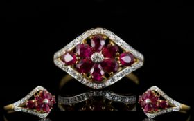 Ladies - Attractive 9ct Gold Ruby and Diamond Set Dress Ring.