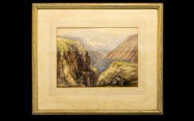 Walter Dyke Carter (1894 - 1966) Original Watercolour On Paper Depicting a mountainous ravine in