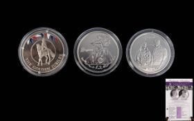 Three Silver Commemorative Coins All Queen Elizabeth II to include Order Of The Garter,