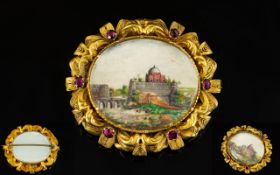 British Raj Ruby And 18ct Gold Picture Brooch Of oval form,