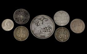 A Small Collection of British Silver Coins (7) coins From George I to Queen Victoria various grades.