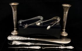 Small Mixed Lot Of Silver Mounted Items To include two spill vases, silver handle shoehorn,