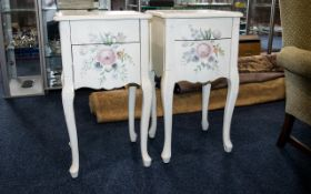 Two Painted Ivory Bed Side Cabinets Slight Staining To Top.