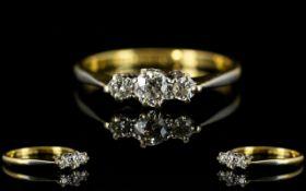 Ladies 18ct Gold and Platinum 3 Stone Diamond Set Ring, Marked Platinum and 18ct.