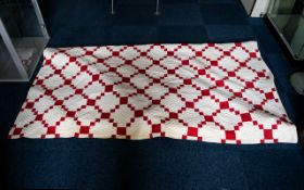 Antique American Red And White Cumberland Patchwork Quilt Hand quilted in geometric red and white