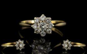 18ct Gold Diamond Set Cluster Ring Flowerhead Design.