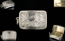George III Superb Quality Unusual Bowed Shaped Solid Silver Vinaigrette with Wonderful Bow Shaped