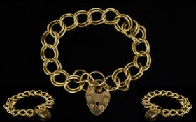Ladies Attractive 9ct Gold Double Link Bracelet With Heart-Shaped Padlock.