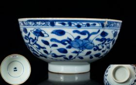 Chinese Antique Kangxi Footed Bowl Blue and white bowl with floral and foliate decoration, some