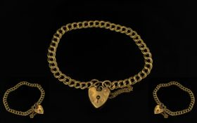 Ladies 9ct Gold Attractive Double Link Bracelet with Attached 9ct Gold Heart Shaped Padlock /