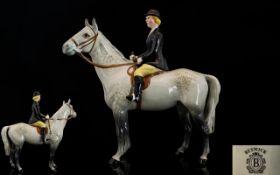 Beswick Seated Rider and Horse Figure ' Hunts Woman ' Dapple Grey Colour way. Model 1730. Designer