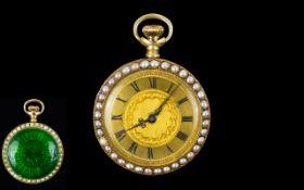 Ladies Longines Pocket Watch Unmarked Yellow Metal 35mm Case,
