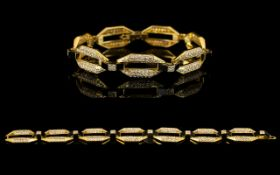 French - Superb and Attractive 18ct Yellow Gold Link Bracelet Set with Diamonds and Onyx Spacers,