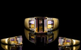 Ladies Attractive Modern 9ct Gold Amethyst and Diamond Set Dress Ring of Pleasing Form.
