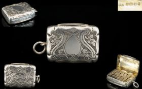 Victorian Period Superb Quality Solid Silver Vinaigrette of Pleasing Form. Makers Mark for H.