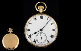 Antique Period Nice Quality 9ct Gold Cased Open Faced Pocket Watch with White Porcelain Dial and