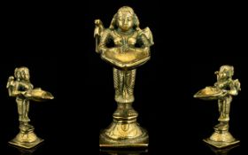 Indian Brass Incense Burner Modelled in the form of the goddess Pavati (Goddess of Love) her arms