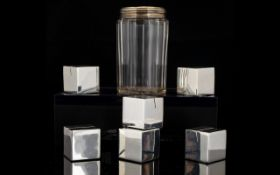 A Set Of Six Modern Cube Form Menu Holders Together with a silver topped dressing table jar.