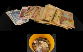 A Collection Of Low Value Mixed World Coins Together with a collection of mixed world bank notes -