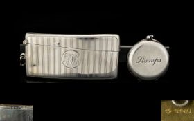 Edwardian Period Silver Regency Striped Hinged Match Case of Curved Form.